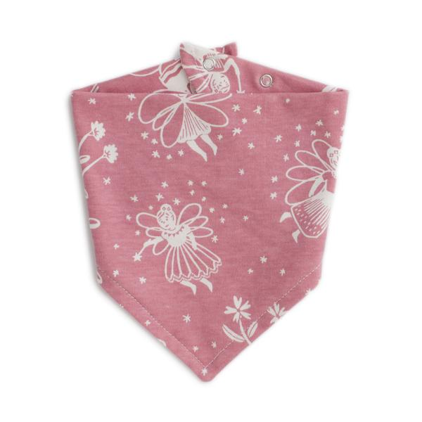 Kerchief Bib, Fairies Dusty Pink