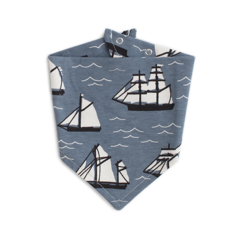 Kerchief Bib, Vintage Sailboats Slate Blue & Black