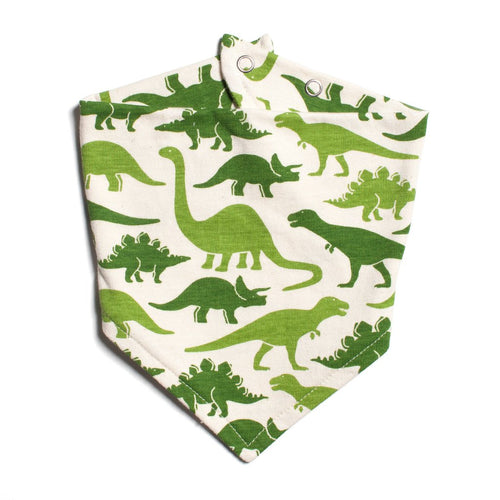 Winter Water Factory Kerchief Bib, Dinosaurs Green