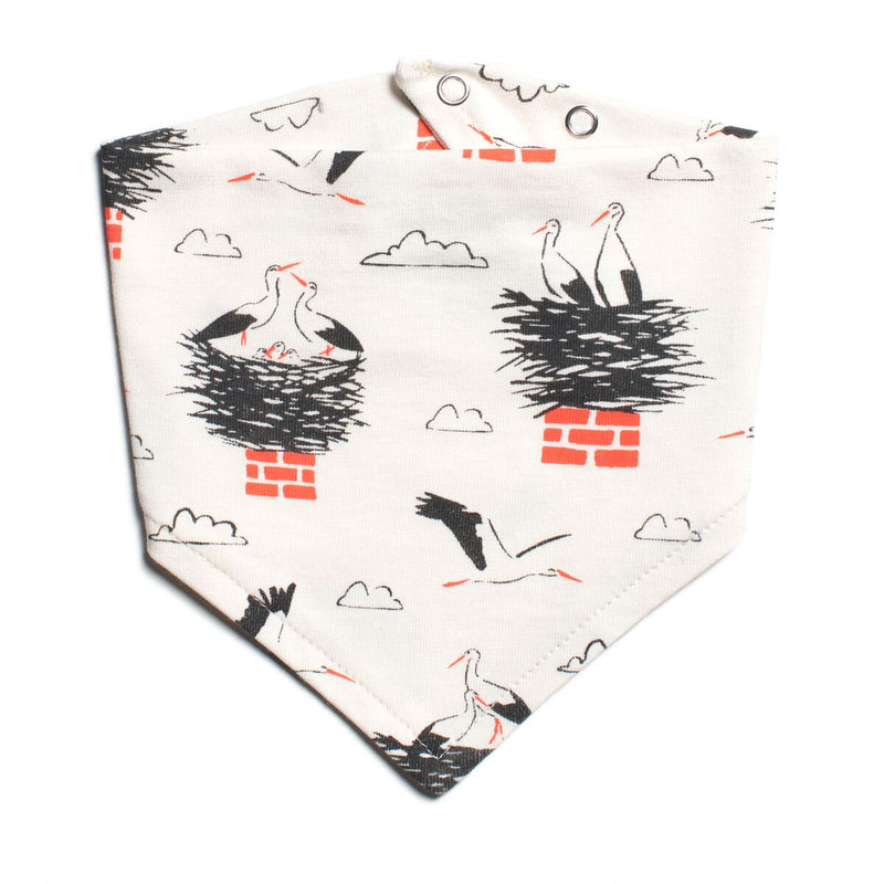 Winter Water Factory Kerchief Bib, Storks Charcoal & Orange