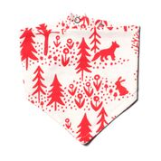 Winter Water Factory Kerchief Bib, Winter Scenic Red