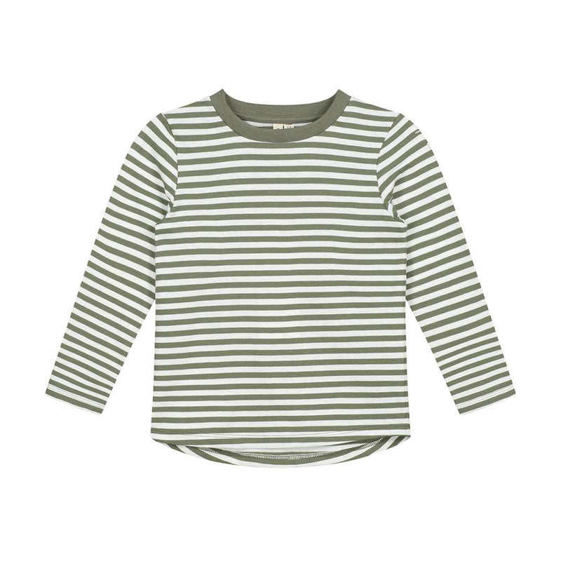 Gray Label Long Sleeved Striped Tee, Moss/Cream Stripe