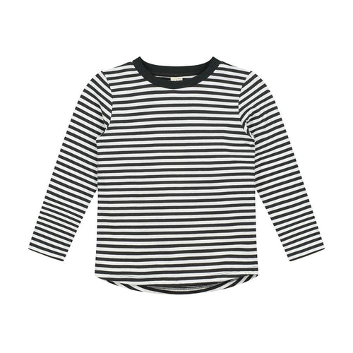 Gray Label Long Sleeved Striped Tee, Black/Cream Stripe