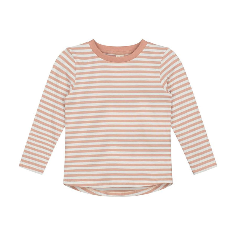 Gray Label Long Sleeved Striped Tee, Rustic Clay/Cream Stripe