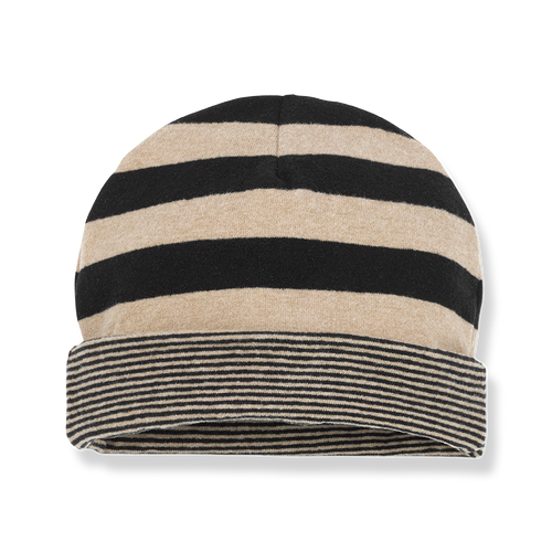 Linz Wide Stripe Beanie, Black/Beige