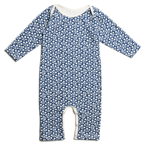 Winter Water Factory Long-Sleeve Romper, Berries Navy