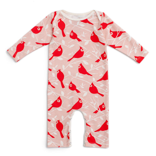 Long-Sleeve Romper, Birds in the Trees Red & Pink