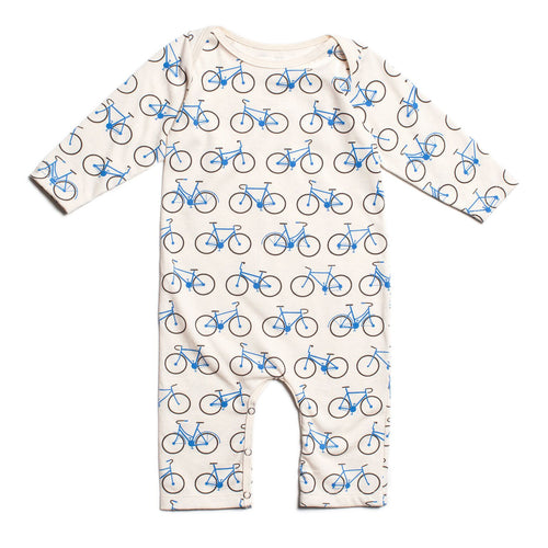 Winter Water Factory Long-Sleeve Romper, Bicycles Blue