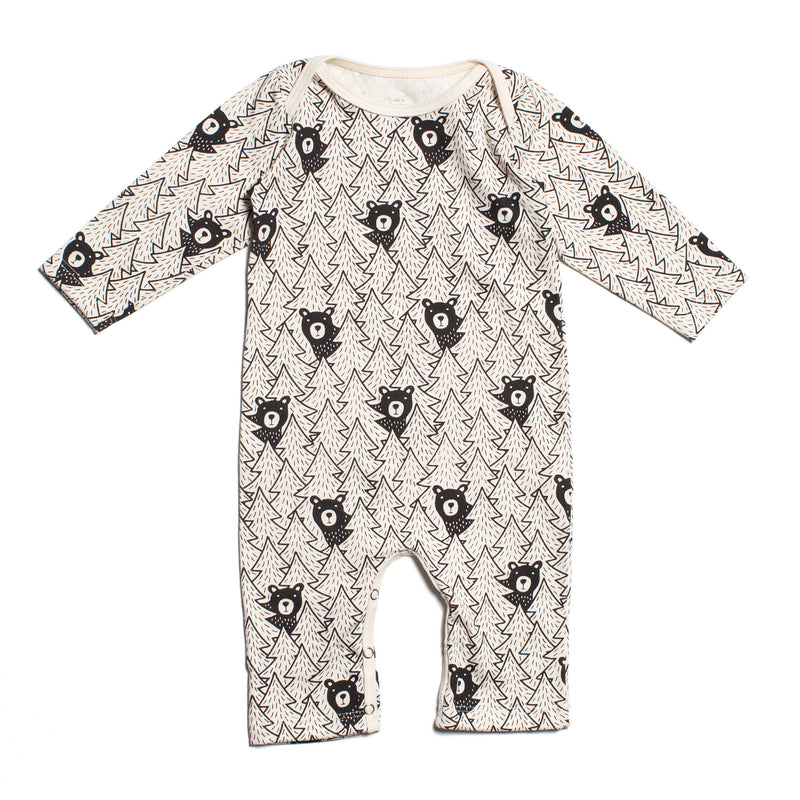 Long-Sleeve Romper, Bears Black