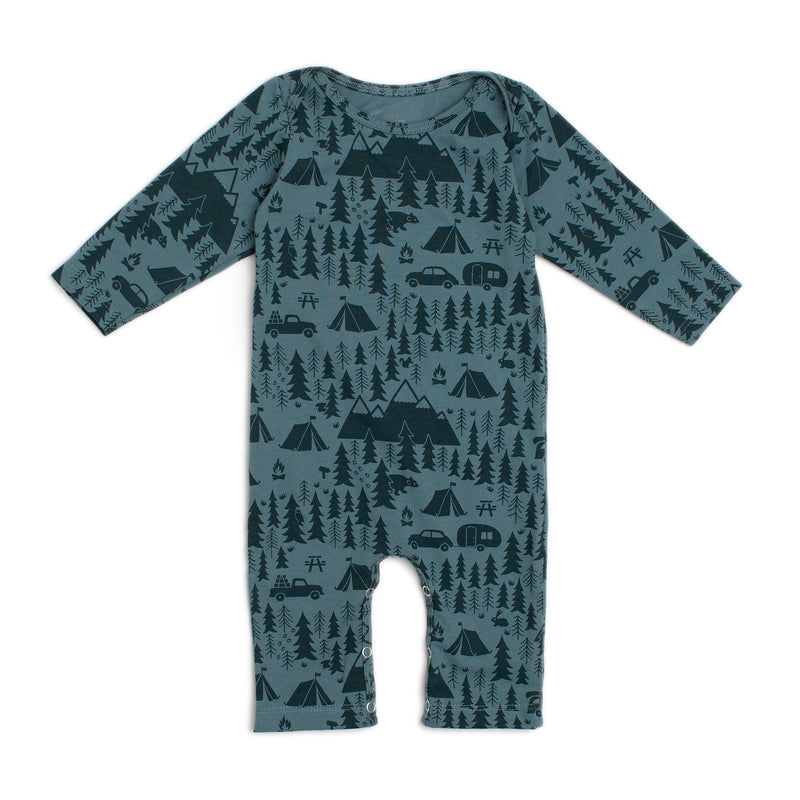 Long-Sleeve Romper, Campground Teal