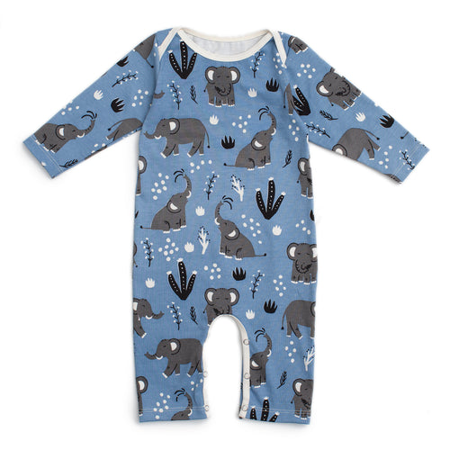 Long-Sleeve Romper, Elephants Blue