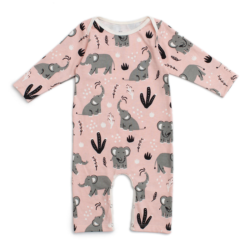 Long-Sleeve Romper, Elephants Pink