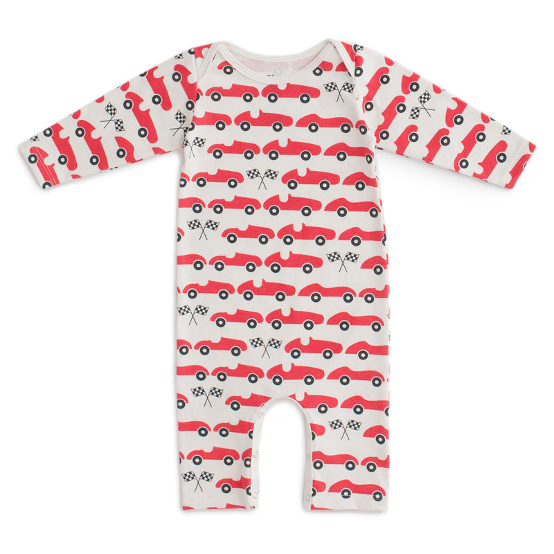 Long-Sleeve Romper Race Cars, Red