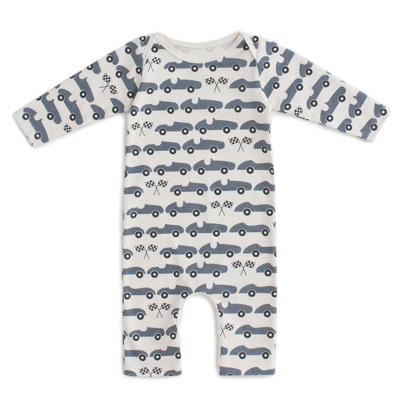 Long-Sleeve Romper Race Cars, Slate Blue