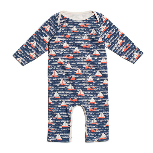 Winter Water Factory Long-Sleeve Romper, Sailboats Navy & Orange
