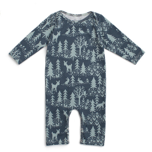 Long-Sleeve Romper, Winter Scenic Slate Blue