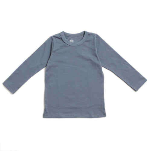 Long-Sleeve Tee, Solid Slate Blue