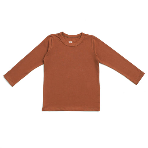 Long-Sleeve Tee, Solid Chestnut