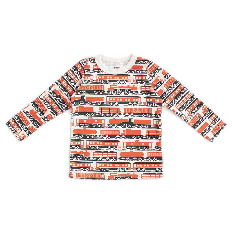 Long-Sleeve Tee Trains, Orange