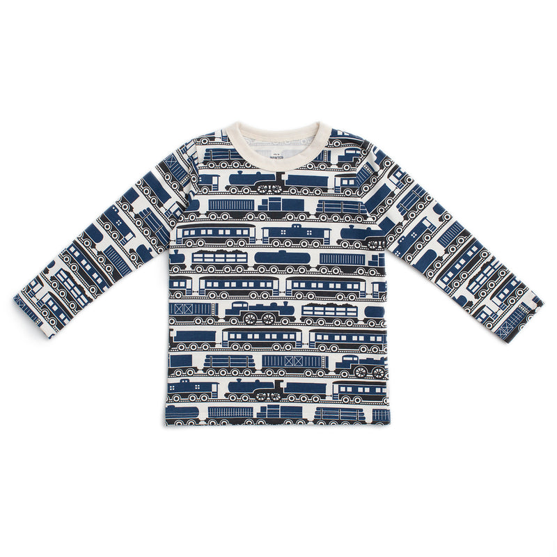 Long-Sleeve Tee, Trains Navy