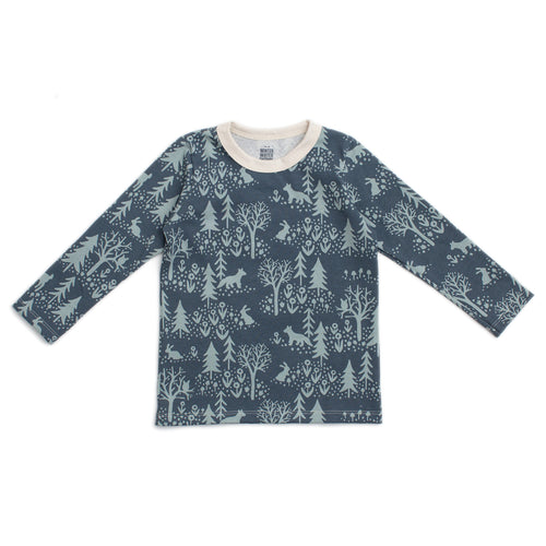 Long-Sleeve Tee, Winter Scenic Slate Blue