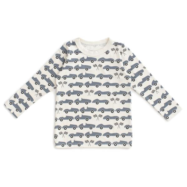 Long-Sleeve Tee, Race Cars Slate Blue