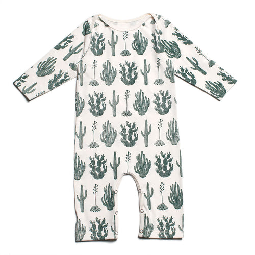 Winter Water Factory Long-Sleeve Romper, Cactus Green