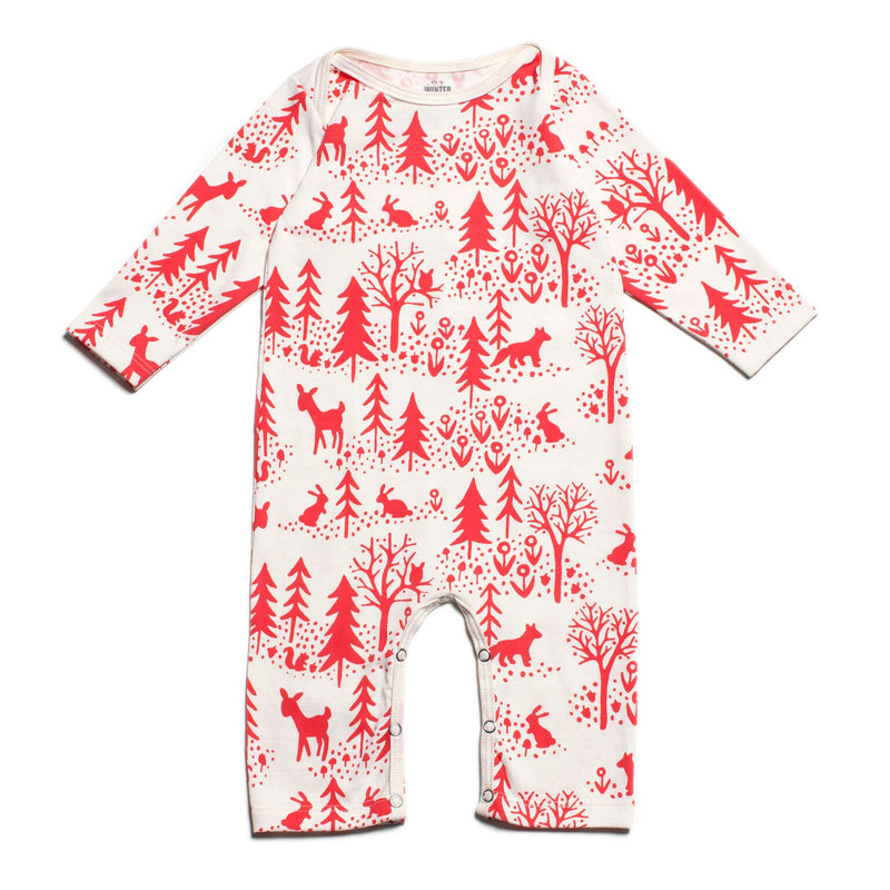 Winter Water Factory Long-Sleeve Romper, Winter Scenic Red