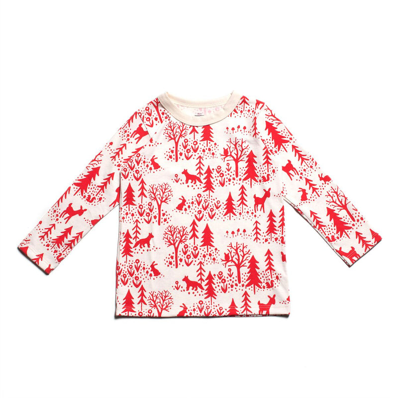 Long-Sleeve Tee, Winter Scenic Red