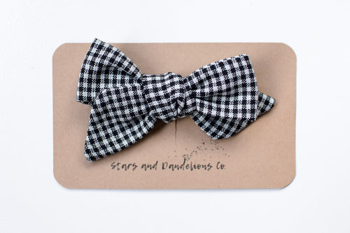 Stars and Dandelions Nora Medium Bow, Black & White Check