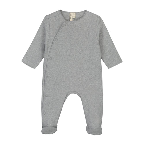 Gray Label Newborn Suit with Snaps, Grey Melange