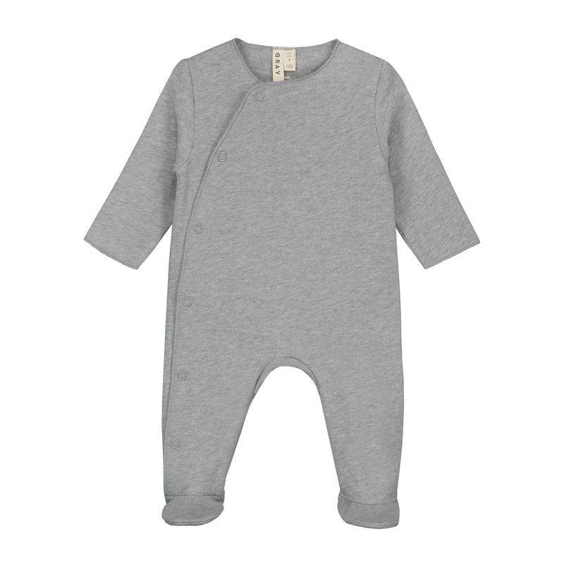 Newborn Suit with Snaps, Grey Melange