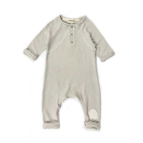 Treehouse Onesie Handmade Patch Embroidery, Light Grey
