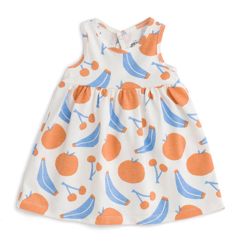Oslo Baby Dress, Yummy Fruit Blue & Orange