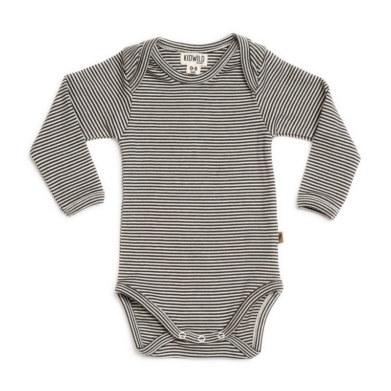 Organic Long-Sleeve Bodysuit, Stripe
