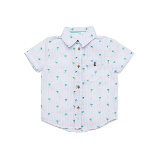 Egg Adrian Short Sleeve Button Down, Palm Trees