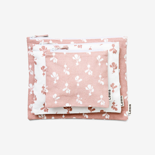 Lewis Zip Pouch Set Mini Radish, Mauve