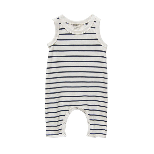 Jersey Long Romper, Navy/Natural stripe