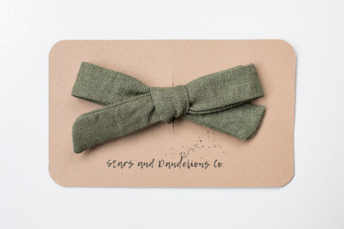 Stars and Dandelions Lauren Schoolgirl Bow, Green