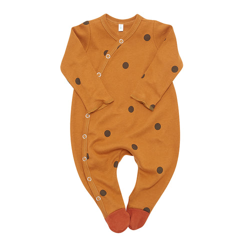 Organic Zoo Long-Sleeve Suit, Spice Dots