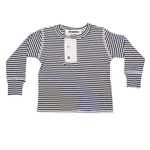 Go Gently Nation Wide Placket Rib Henley, Navy & Natural Stripe