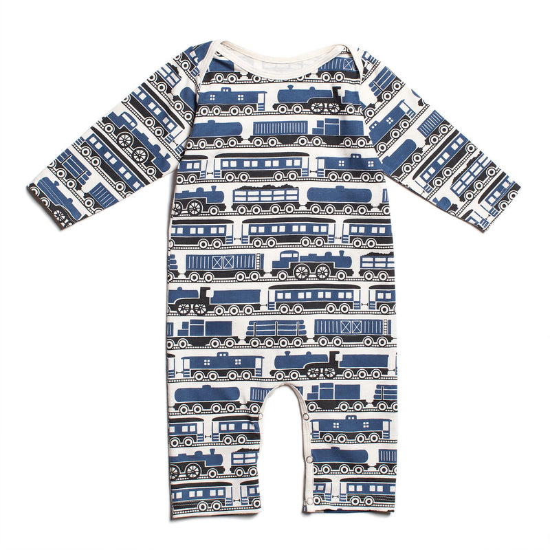 Winter Water Factory Long-Sleeve Romper, Trains Navy
