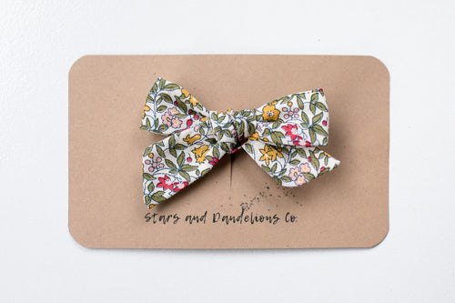 Stars and Dandelions Josie Small Bow/Pig Tail, Yellow & Green Floral