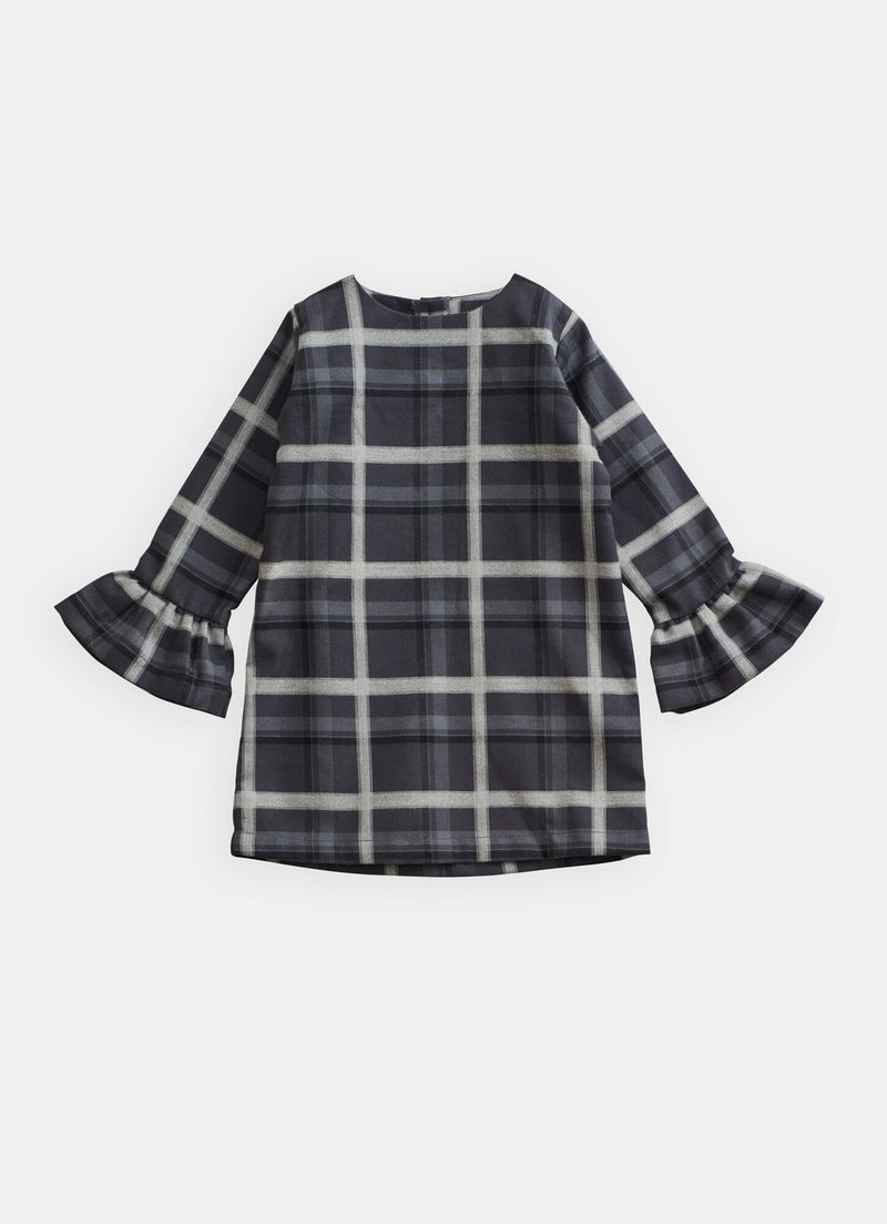 Belle Enfant Bell Sleeve Dress, Tartan Heather