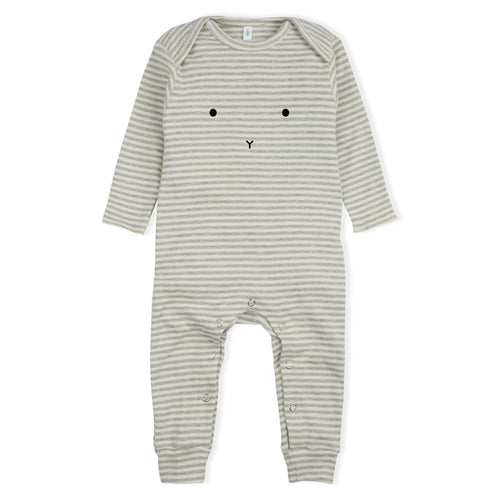 Long-Sleeve BUNNY Playsuit, Grey/White Stripe