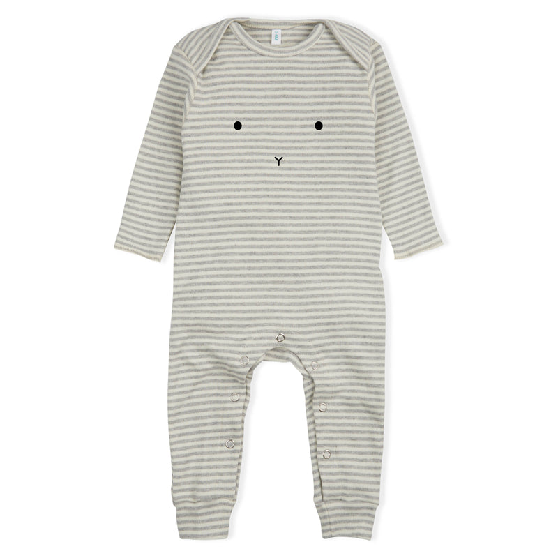 L/S Bunny Playsuit, Grey/White Stripe