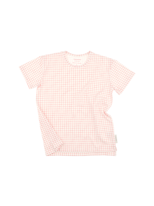 Tinycottons Short-Sleeved Grid Tee, Red