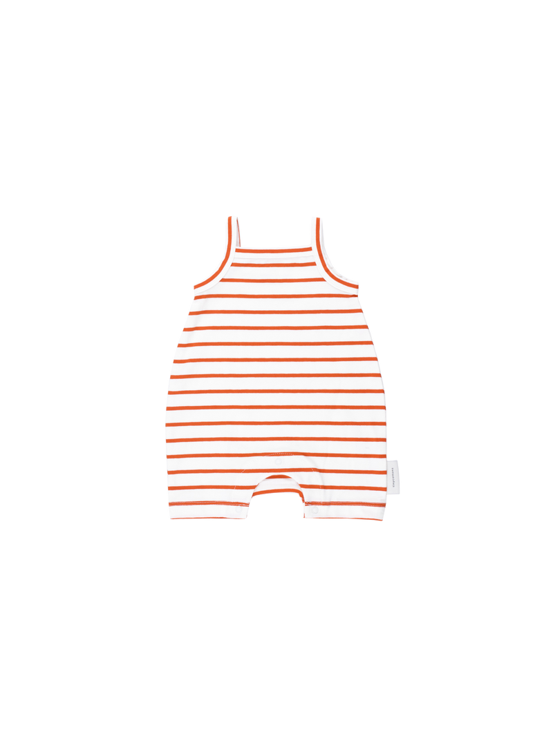 Tinycottons Sleeveless Short Romper, Striped Red