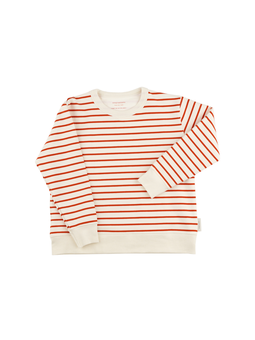 Tinycottons Striped Sweatshirt, Carmin