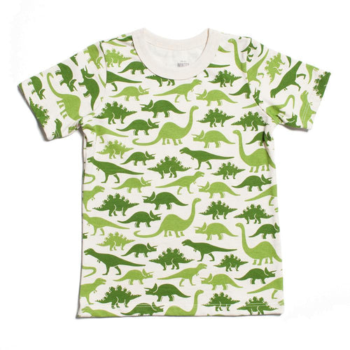 Winter Water Factory Short Sleeve Tee, Dinosaurs Green